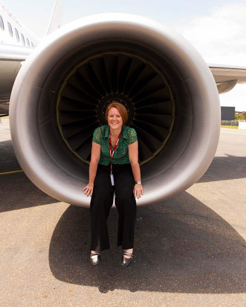 Jen Dainer, inside the engine of the PM's plane. The engine was off. Obviously