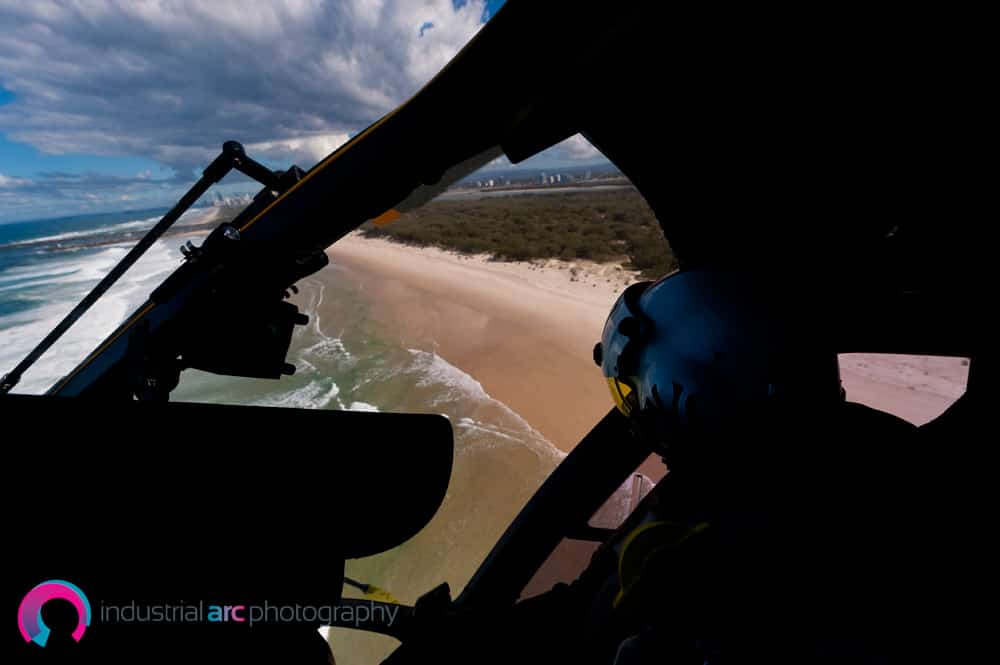 Shot from inside helicopter, looking out at the Gold Coast